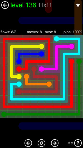 Solution and Answer to the Puzzle for Flow 11mania Pack Set 11x11 Level 136