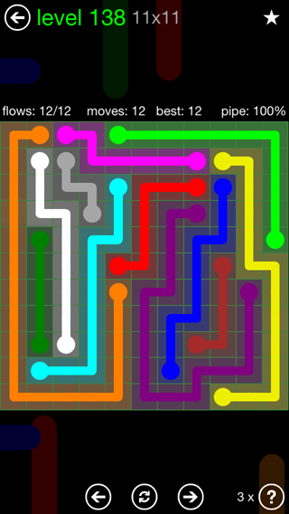 Solution and Answer to the Puzzle for Flow 11mania Pack Set 11x11 Level 138