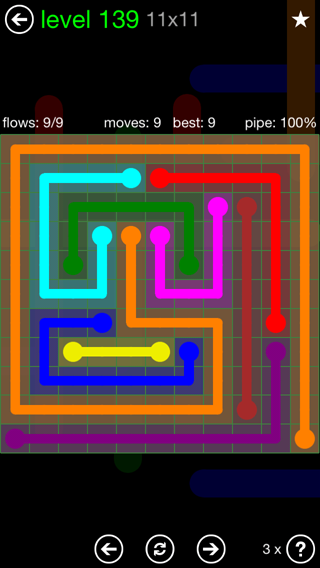 Solution and Answer to the Puzzle for Flow 11mania Pack Set 11x11 Level 139