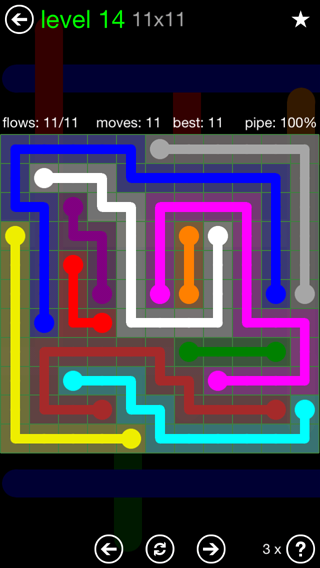 Solution and Answer to the Puzzle for Flow 11mania Pack Set 11x11 Level 14