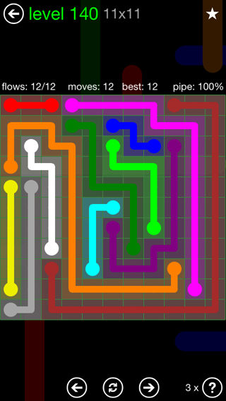 Solution and Answer to the Puzzle for Flow 11mania Pack Set 11x11 Level 140