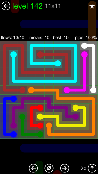 Solution and Answer to the Puzzle for Flow 11mania Pack Set 11x11 Level 142