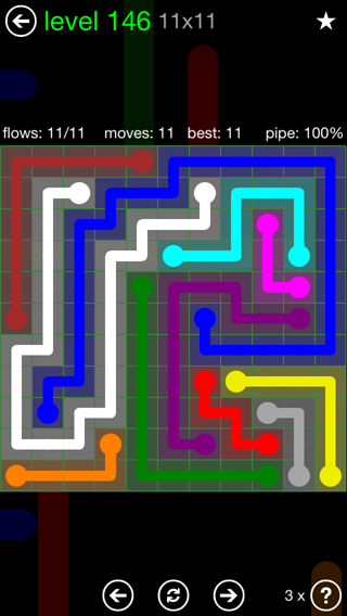Solution and Answer to the Puzzle for Flow 11mania Pack Set 11x11 Level 146