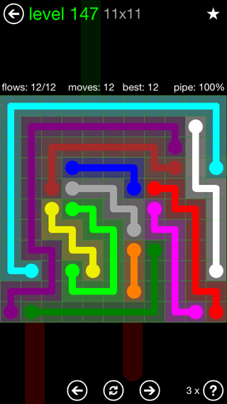 Solution and Answer to the Puzzle for Flow 11mania Pack Set 11x11 Level 147