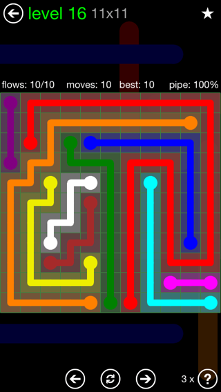 Solution and Answer to the Puzzle for Flow 11mania Pack Set 11x11 Level 16