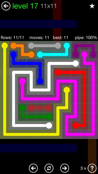 Solution and Answer to the Puzzle for Flow 11mania Pack Set 11x11 Level 17