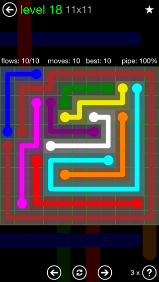 Solution and Answer to the Puzzle for Flow 11mania Pack Set 11x11 Level 18