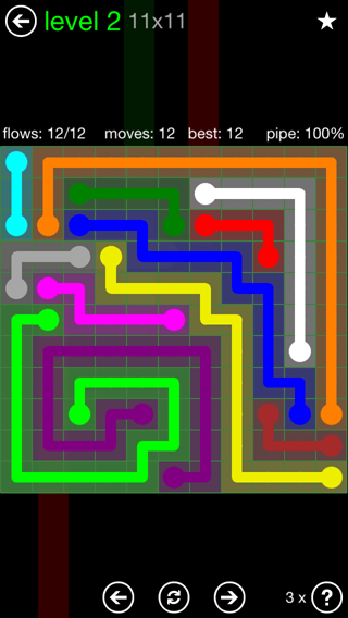 Solution and Answer to the Puzzle for Flow 11mania Pack Set 11x11 Level 2