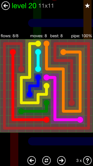 Solution and Answer to the Puzzle for Flow 11mania Pack Set 11x11 Level 20