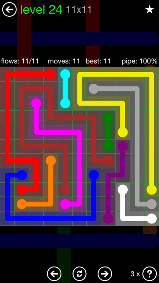 Solution and Answer to the Puzzle for Flow 11mania Pack Set 11x11 Level 24
