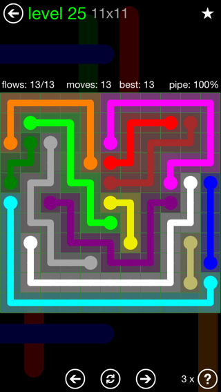 Solution and Answer to the Puzzle for Flow 11mania Pack Set 11x11 Level 25