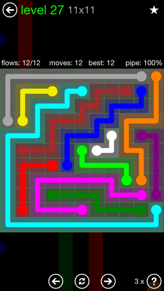 Solution and Answer to the Puzzle for Flow 11mania Pack Set 11x11 Level 27
