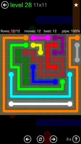 Solution and Answer to the Puzzle for Flow 11mania Pack Set 11x11 Level 28
