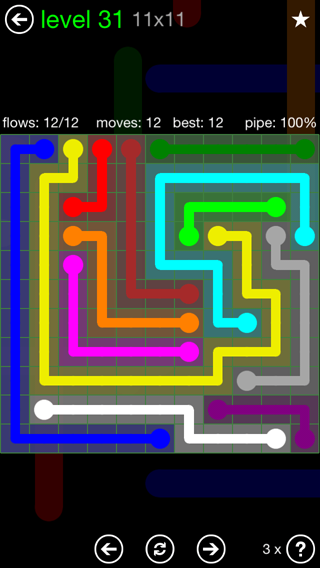 Solution and Answer to the Puzzle for Flow 11mania Pack Set 11x11 Level 31