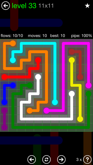 Solution and Answer to the Puzzle for Flow 11mania Pack Set 11x11 Level 33