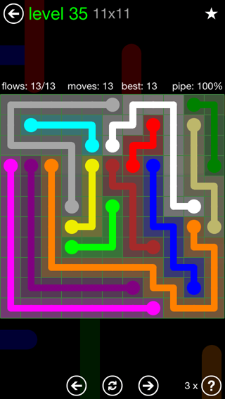 Solution and Answer to the Puzzle for Flow 11mania Pack Set 11x11 Level 35