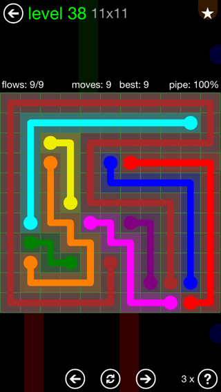 Solution and Answer to the Puzzle for Flow 11mania Pack Set 11x11 Level 38