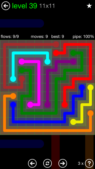 Solution and Answer to the Puzzle for Flow 11mania Pack Set 11x11 Level 39