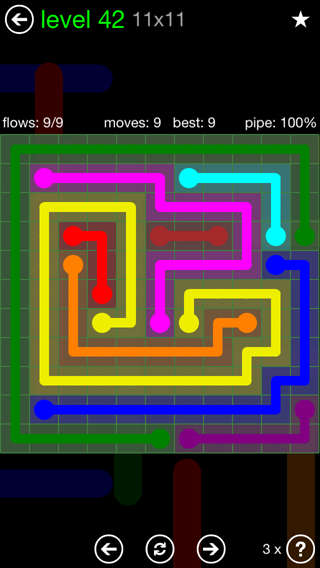 Solution and Answer to the Puzzle for Flow 11mania Pack Set 11x11 Level 42