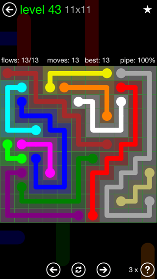Solution and Answer to the Puzzle for Flow 11mania Pack Set 11x11 Level 43