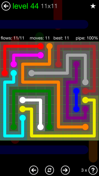 Solution and Answer to the Puzzle for Flow 11mania Pack Set 11x11 Level 44
