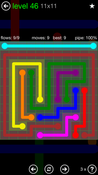Solution and Answer to the Puzzle for Flow 11mania Pack Set 11x11 Level 46