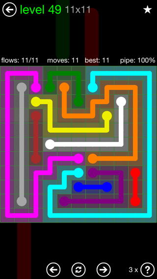 Solution and Answer to the Puzzle for Flow 11mania Pack Set 11x11 Level 49