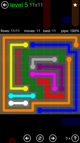Solution and Answer to the Puzzle for Flow 11mania Pack Set 11x11 Level 5