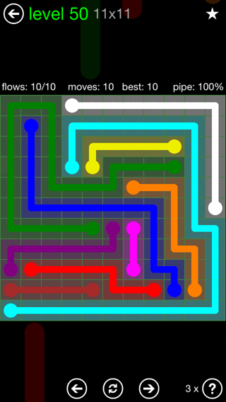 Solution and Answer to the Puzzle for Flow 11mania Pack Set 11x11 Level 50