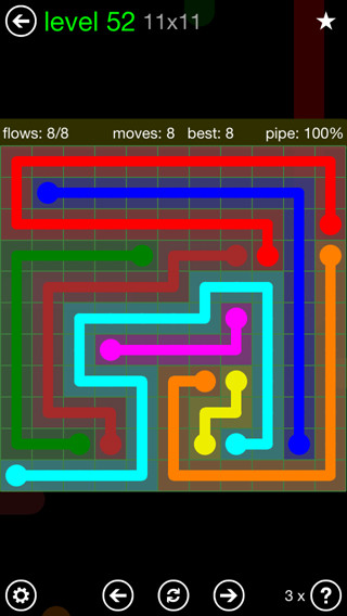 Solution and Answer to the Puzzle for Flow 11mania Pack Set 11x11 Level 52