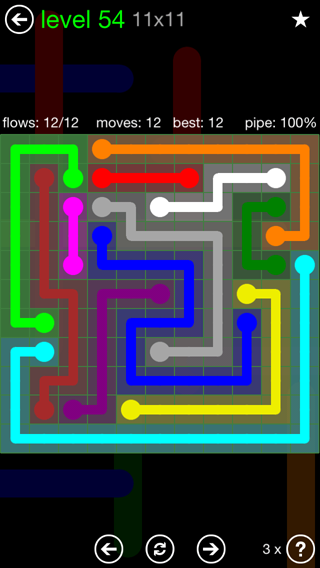Solution and Answer to the Puzzle for Flow 11mania Pack Set 11x11 Level 54