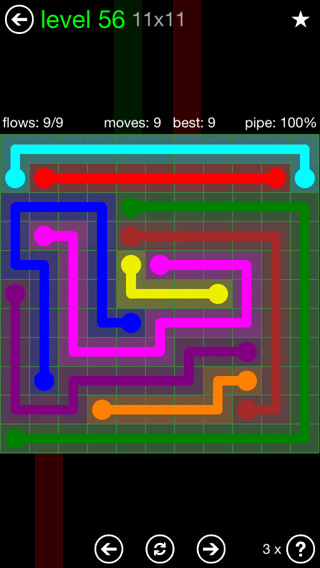 Solution and Answer to the Puzzle for Flow 11mania Pack Set 11x11 Level 56