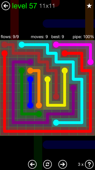 Solution and Answer to the Puzzle for Flow 11mania Pack Set 11x11 Level 57