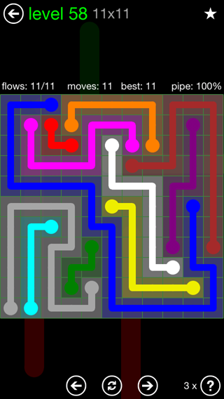 Solution and Answer to the Puzzle for Flow 11mania Pack Set 11x11 Level 58