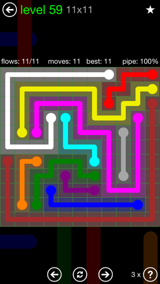 Solution and Answer to the Puzzle for Flow 11mania Pack Set 11x11 Level 59