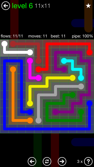 Solution and Answer to the Puzzle for Flow 11mania Pack Set 11x11 Level 6
