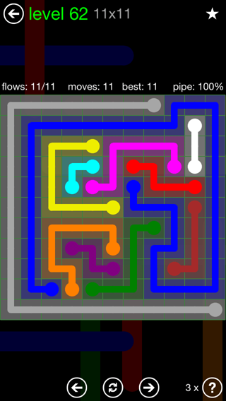 Solution and Answer to the Puzzle for Flow 11mania Pack Set 11x11 Level 62
