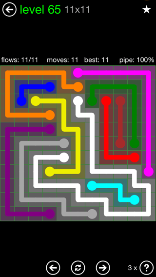 Solution and Answer to the Puzzle for Flow 11mania Pack Set 11x11 Level 65