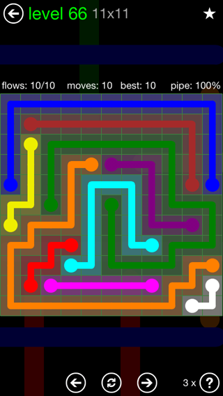 Solution and Answer to the Puzzle for Flow 11mania Pack Set 11x11 Level 66