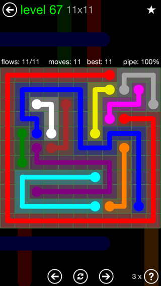 Solution and Answer to the Puzzle for Flow 11mania Pack Set 11x11 Level 67