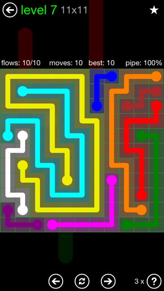 Solution and Answer to the Puzzle for Flow 11mania Pack Set 11x11 Level 7