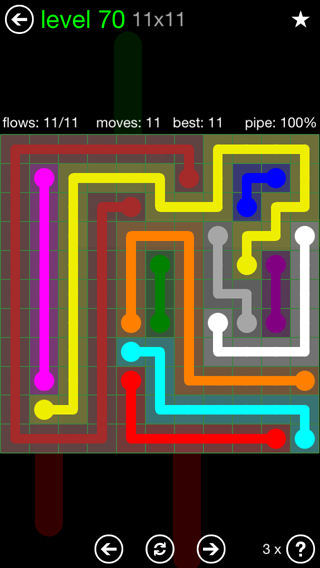 Solution and Answer to the Puzzle for Flow 11mania Pack Set 11x11 Level 70