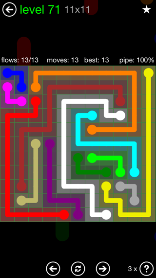 Solution and Answer to the Puzzle for Flow 11mania Pack Set 11x11 Level 71