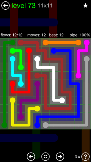 Solution and Answer to the Puzzle for Flow 11mania Pack Set 11x11 Level 73