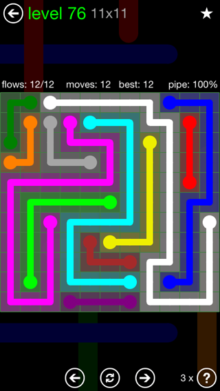 Solution and Answer to the Puzzle for Flow 11mania Pack Set 11x11 Level 76