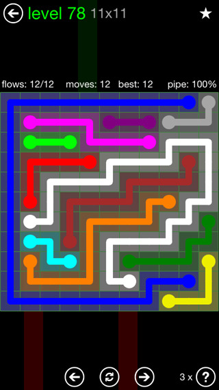 Solution and Answer to the Puzzle for Flow 11mania Pack Set 11x11 Level 78