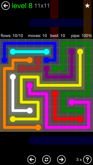 Solution and Answer to the Puzzle for Flow 11mania Pack Set 11x11 Level 8