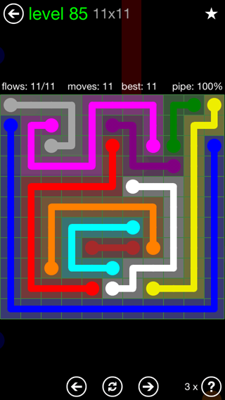 Solution and Answer to the Puzzle for Flow 11mania Pack Set 11x11 Level 85