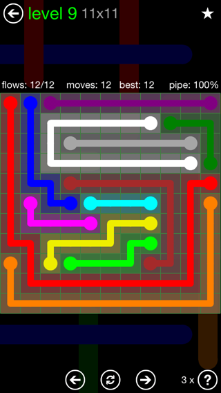 Solution and Answer to the Puzzle for Flow 11mania Pack Set 11x11 Level 9