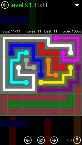 Solution and Answer to the Puzzle for Flow 11mania Pack Set 11x11 Level 91